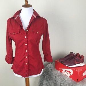 Converse One Star brick red button down shirt sz S